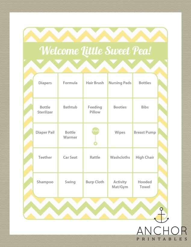 baby bingo yellow green chevron