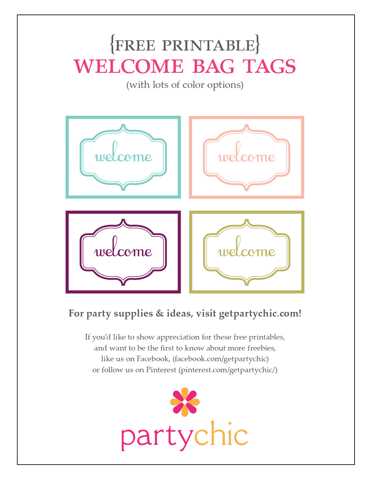 free printable welcome tag   PartyChic Printables