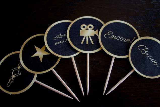 Cupcake Toppers for an Oscar Party